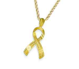 14K Yellow Gold Diamond Cut Awareness Ribbon Pendant Necklace