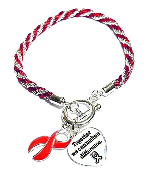 AIDS Awareness Silver Ribbon Red Rope Charm Bracelet