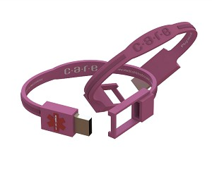 Care USB Medical History Bracelet - Pink