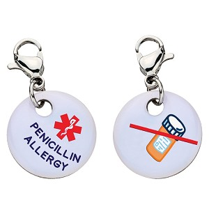 Clip On Aluminum Medical ID Charm - PENICILLIN ALLERGY