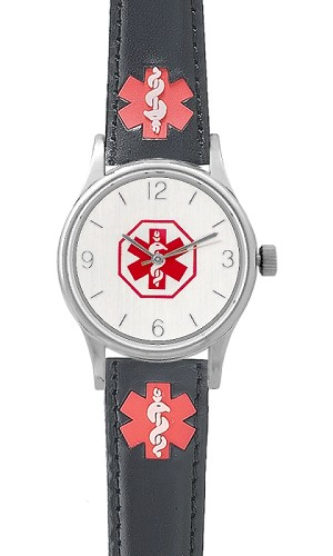 Women S Medical Id Watch With Black Leather Band And Alert