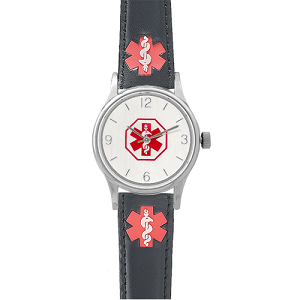 Women's Medical ID Watch with Black Leather Band and Alert Symbols