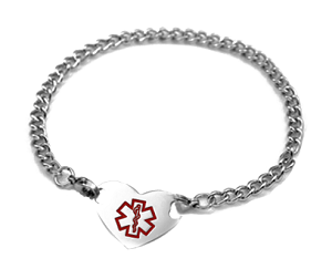 Stainless Steel Heart Medical ID Anklet with Curb Chain - Large Medical Symbol