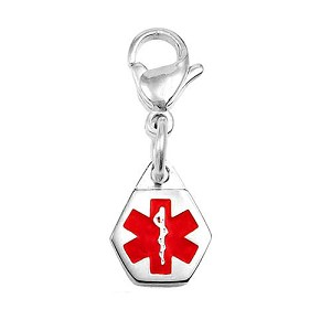 Clip On Stainless Steel Medical ID Charm Pendant - Small