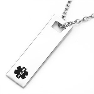 Modern Solitaire Stainless Steel Medical ID Pendant - POLISHED