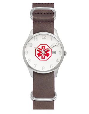 Men's Nato Medical ID Watch - Brown Leather