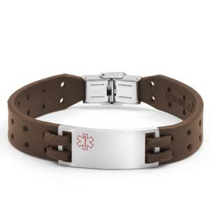 Aperture Brown Leather Medical ID Bracelet