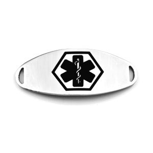 Medical ID Tag for Custom Bracelets - Stainless with Large BLACK Symbol - 1 1/2 Inch Length