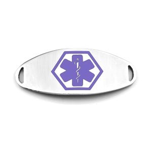 Medical ID Tag for Custom Bracelets - Stainless with Large PURPLE Symbol - 1 1/2 Inch Length