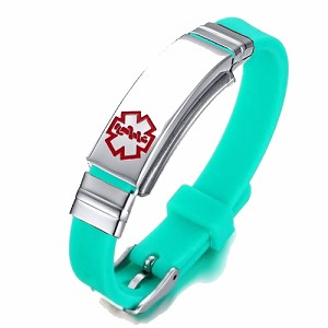 Green Rubber Silicone Stainless Medical ID Bracelet Plus