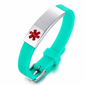 Green Rubber Silicone Stainless Medical ID Bracelet