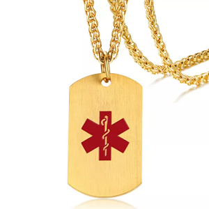 Large Alert Symbol Medical ID Dog Tag Pendant Necklace - Gold Plated