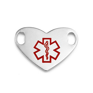 Medical ID Tag for Custom Bracelets - Stainless Heart with Large RED Symbol - 1 Inch Length