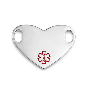 Medical ID Tag for Custom Bracelets - Stainless Heart with Small RED Symbol - 1 Inch Length