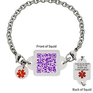 My ID Square Squid Square Medical Bracelet - Purple People Eater