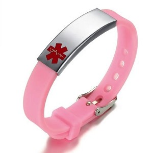 Pink Rubber Silicone Stainless Medical ID Bracelet