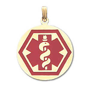 Round Hex Medical ID Pendant in 10K, 14K Gold or Silver - 28mm