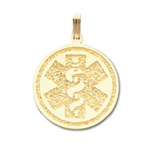 Round Medical ID Pendant in 10K, 14K Gold or Silver - 30mm