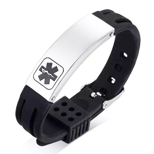 Rubber Silicone Stainless Medical ID Sport Bracelet - Black