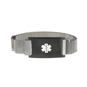 Silver and Black Tone Magnetic Closure Medical ID Bracelet