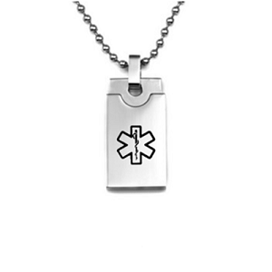 Small Stainless Steel Dog Tag Pendant with Black Medical ID Symbol - Layered Design