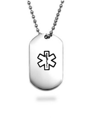 Small Stainless Steel Dog Tag Pendant with Black Medical ID Symbol