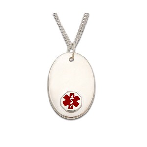 Sterling Silver Medical ID Pendant Necklace - Oval