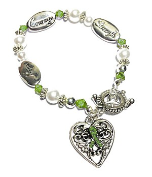 TBI Awareness Silver Hope Strength Courage Charm Bracelet