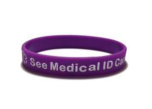 See Medical ID Card Silicone Wristband Bracelet
