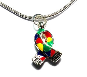 Autism Awareness Silver Puzzle Piece Ribbon Necklace