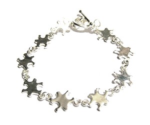 Autism Awareness Silver Link Puzzle Piece Bracelet