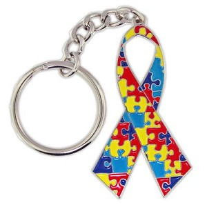 Autism Awareness Ribbon Charm Key Chain