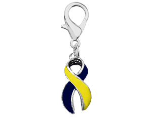Medical Awareness Silver Ribbon Clip On Charm - Blue and Yellow