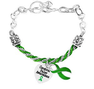 Cerebral Palsy Awareness Rope and Silver Charm Bracelet