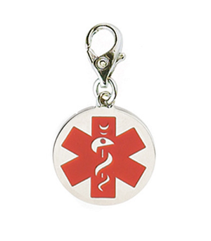 Clip On Stainless Steel Medical ID Charm Pendant