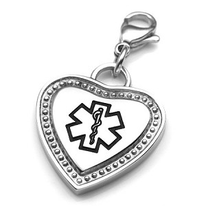 Clip On Stainless Steel Black Medical ID Charm Pendant - Heart
