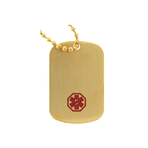 Stainless Steel Medical ID Dog Tag Pendant Necklace - Gold Plated