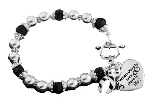Ehlers Danlos Awareness Silver Ribbon and Heart Charm Bracelet