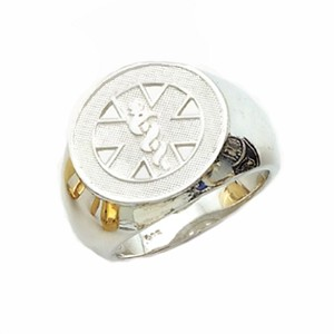 Mens Sterling Silver Medical ID Alert Ring