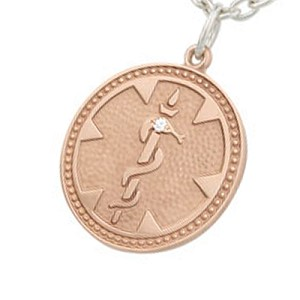 Diamond Medical Alert Necklace - Rose Gold