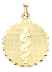 Diamond Cut Medical ID Pendant in 10K, 14K Gold or Silver - 25mm