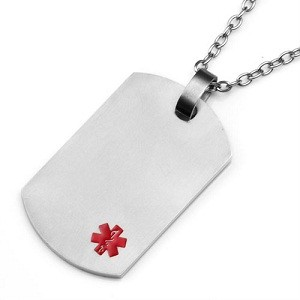 Titanium Dog Tag Pendant with Small Red Medical ID Symbol