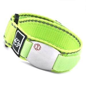 Stainless Steel Medical ID Bracelet with Green Fast Wrap Sport Strap