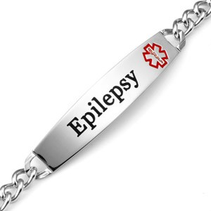 Epilepsy Curb Link Stainless Steel Medical ID Bracelet with 1.5 Inch Plaque