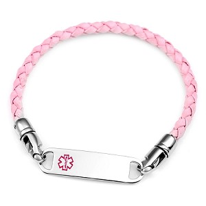 Pink Braided Leather Medical ID Bracelet
