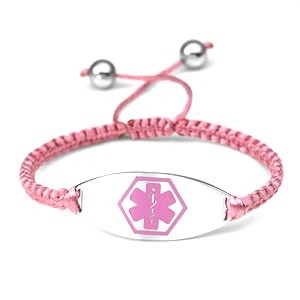 Macrame Satin Cord Stainless Steel Medical ID Bracelet - Pink