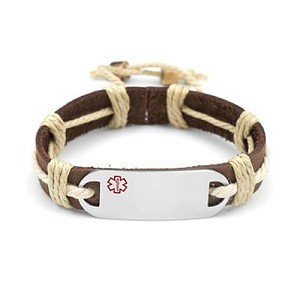 Stainless Steel Medical ID Bracelet with Brown Leather and Natural Hemp Strap