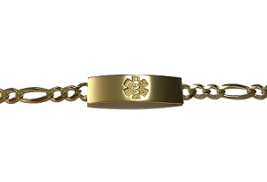 10K Yellow Gold Medical ID Bracelet with Figaro Chain