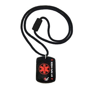 4id Sports Medical Identification Dog Tag Necklace - RED