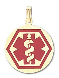 Round Hex Medical ID Pendant in 10K, 14K Gold or Silver - 23mm